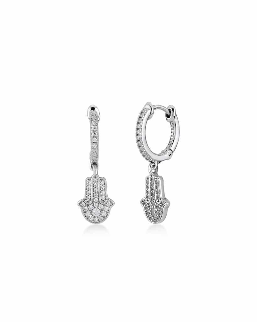 Mano di Fatima: orecchini in argento 925 Kurshuni