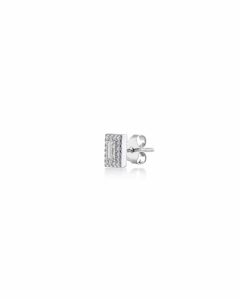 Orecchino baguette in argento 925 e zirconi
