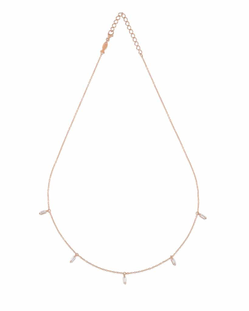 Collana baguette in argento 925 placcato oro rosa 21kt